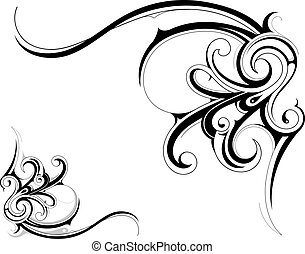 Design element - Decorative ornament with floral elements...