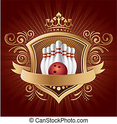 design element for bowling sport - bowling, shield, crown, ...
