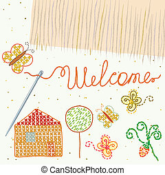 Design element for embroidery with welcome label