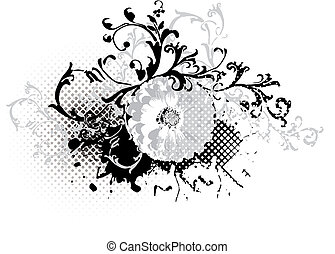 grunge black and white floral design element - vector
