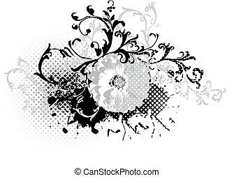 grunge black and white floral design element - vector