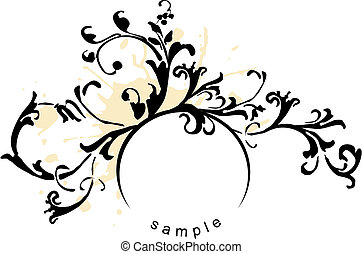 Design element - grunge black and white floral design...