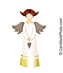Design element isolated on white background. Angel illustration. Cute character. Wings. Angelic. Apostle Easter