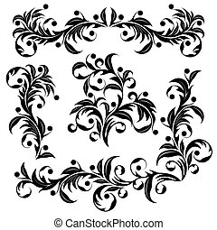 Design element - Set from black design elements on a white...