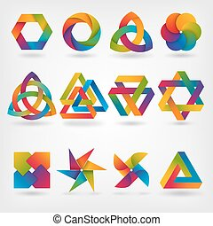 design elements. abstract symbol set in rainbow colors