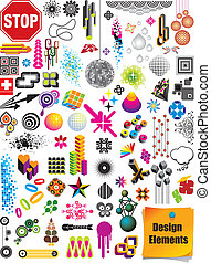 Vector collection with many different shapes, design elements and graphics.