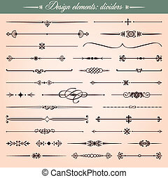 Vector set of 30 design elements, dividers and dashes