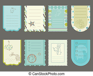 Design elements for baby scrapbook - cute tags with animals