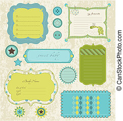 Design elements for baby scrapbook