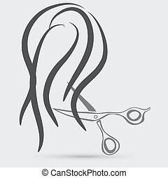 Design elements for barber shop . Women hairstyle