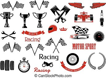 Design elements or set of isolated icons for motosport and racing. Checkered flags and winner cup or bowl, formula one cars or F1 and wrench or spanner, , laurus leaves and motorbike, wheel and speedometer, driver and stopwatch, speedometer.