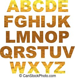 Design elements - gold 3D font. Set
