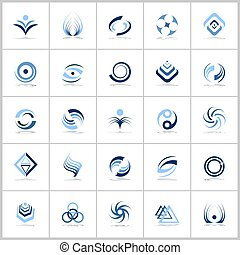 Design elements in blue colors. Abstract icons set.