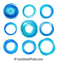 Design elements in blue colors icons. Set 5