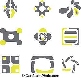 Design elements in grey and green colors