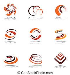 Design elements in warm colors. Vector art.