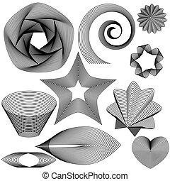 Design elements made of black lines on white background.