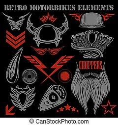 Design elements on black background for vintage motorbikes -...