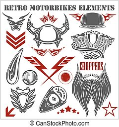 Design elements on white background for vintage motorbikes - vector set.