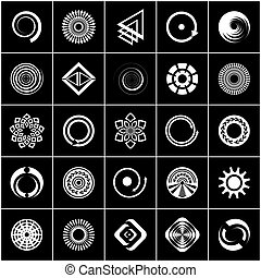 Design elements set. Abstract white icons on black background.