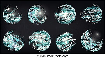 Design elements set in dark colors icons. 3D Balls