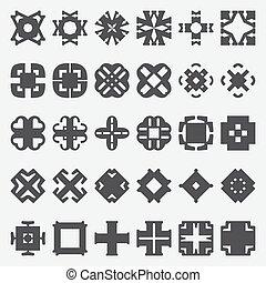 Design elements set. Vector illustration. Tribal cross symbols.