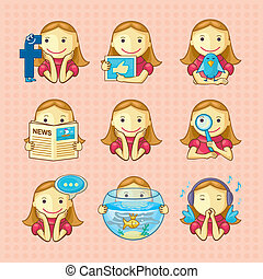 Design Elements - Social Icons - Set of social icons with...