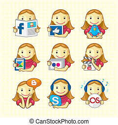 Set of social icons with pretty girls. Background on separate layer.