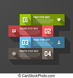Design elements template, long shadow style