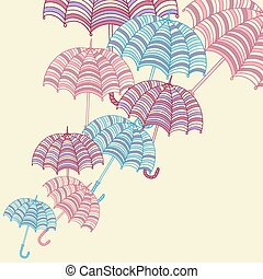Design ellement with cute umbrellas. Vector illustration