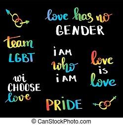 design, emblem., poster., flerfärgad, tryck, vektor, stolthet, inspirational, slogan, begrepp, homosexuell, homosexualitet, lgbt, movement., hand, fred, rättigheten, lettering., flagga, skriftligt