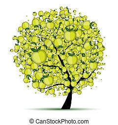 design, energi, träd, äpple, din