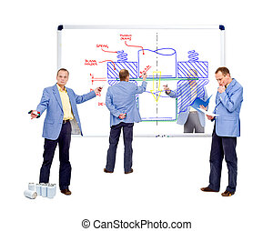 A team of design engineers working on the manufacturing process of a beverage can