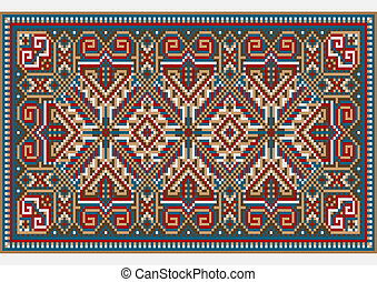 Picture of old carpet with the details of the ethnic ornament