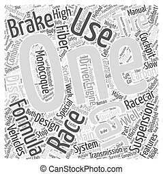 Design Features of Formula One Racing Cars Word Cloud Concept