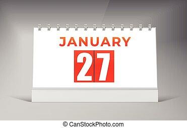 design., fecha calendario, enero, 27, diseño, template., solo, escritorio