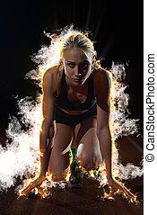 design, feuer, brennen, sprinter, abgang, beginnen, frau, blöcke