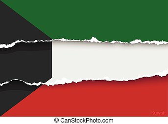 design flag kuwait from torn papers with shadows - design...