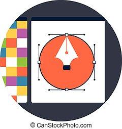 Design flat icons. Set of graphic and web design symbols