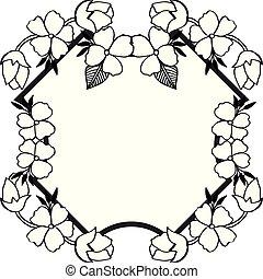 Design floral frame, various shape of card. Vector