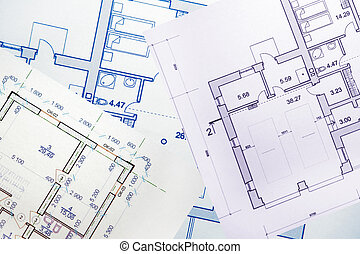 Design for a building of a building on a paper sheet