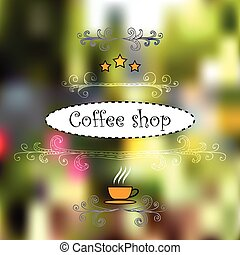 Design for cofee shops. Vintage hand-drawn elements, vectorized view of street objects, cup and stars.