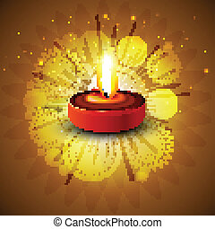 Design for diwali festival with beautiful diya background vector