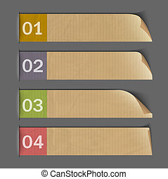 Design for infographics - paper numbered banners. Vector set