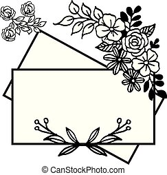 Design for poster and card with simple flower frame isolated on white background. Vector