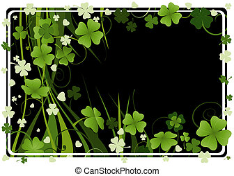 design for St. Patrick's Day with four and three leaf ...