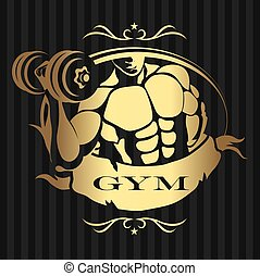 Design for the gym man with dumbbells
