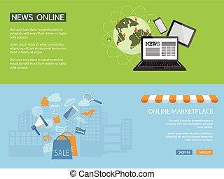 design for website of news, shop, store online - Flat design...