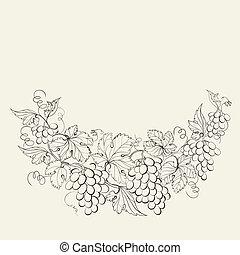 Design for wine list.  illustration.