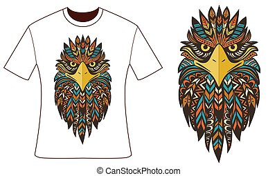 Design for your t-shirt. Ethnic eagle.
